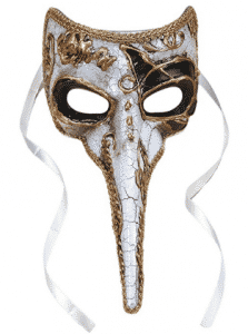 "Loftus International Plague Doctor Venetian Nose Mask White w Gold & Black Accents 9"" Long Novelty Item"