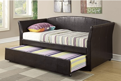 Daybed with Trundle in Espresso Faux Leather by Poundex