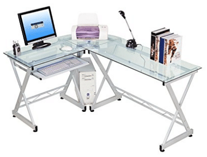 Tempered Glass L Shape Corner Desk With Pull Out Keybaord Panel