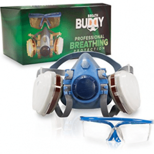 Breath Buddy Respirator Mask (Plus Safety Goggles) Reusable Professional Breathing Protection Against Dust