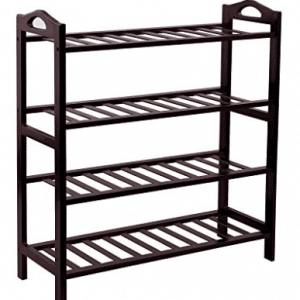SONGMICS 100% Bamboo 4-Tier Shoe Rack Entryway Shoe Shelf Storage Organizer