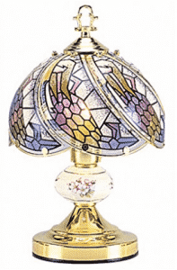 OK Lighting OK-606-4G 14.25-Inch Touch Lamp with Tiffany Glass Floral Theme