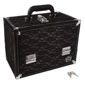 Caboodles Stylist Train Case, Black Lace Over Silver