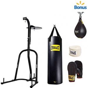 Everlast Dual Station Heavy Bag Stand, 100-lb, Speedbag, Value Bundle