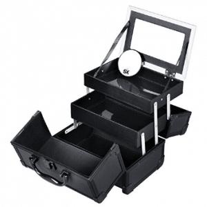SONGMICS Portable Makeup Train Case Mini Alumi Cosmetic Organizer Box with Mirror 2 Trays Black UMUC11B