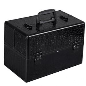 "Giantex 14""x9""x10"" Pro Aluminum Makeup Train Case Jewelry Box Cosmetic Organizer (Black Croc)"