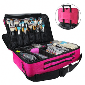 MLMSY Makeup Train Case 3 Layer Cosmetic Organizer Beauty Artist Storage Brush Box with Shoulder Strap