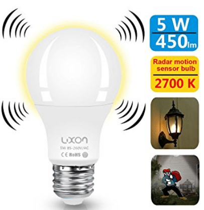 Motion Sensor Light Bulb 5W Smart Bulb Radar Dusk to Dawn LED