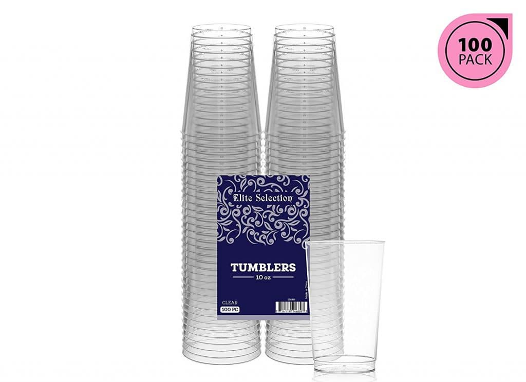 Elite Selection 10 Oz. Pack Of 100 Clear Hard Disposable Party Plastic Tumblers/Cups