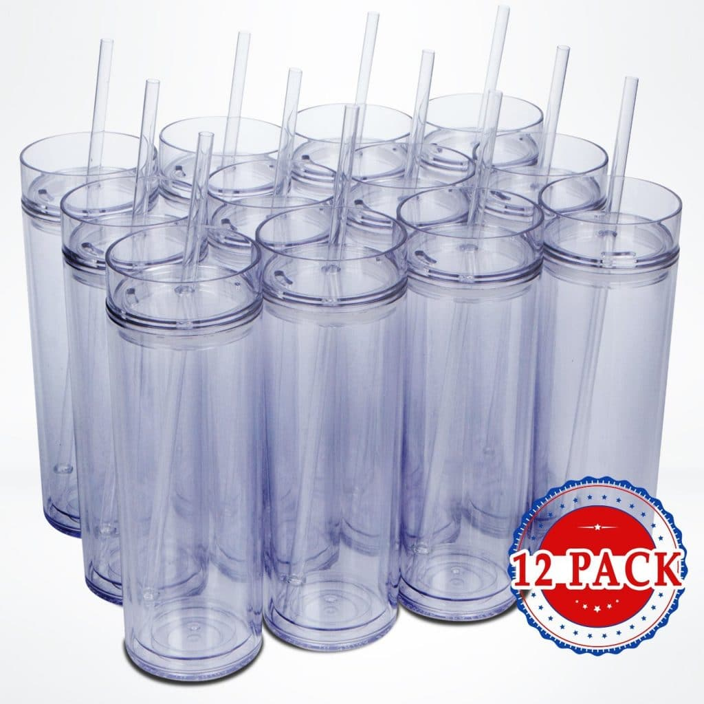 Top House Clear Acrylic Tumblers with Lids and Reusable Straws