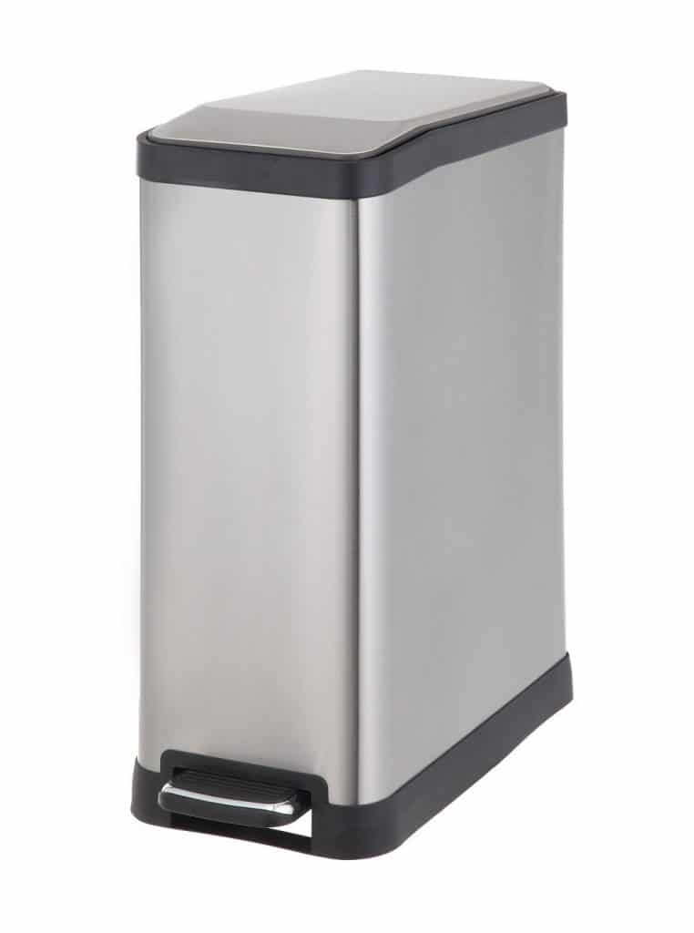 HomeZone 45-Liter Stainless Steel Rectangular Step Trash Can