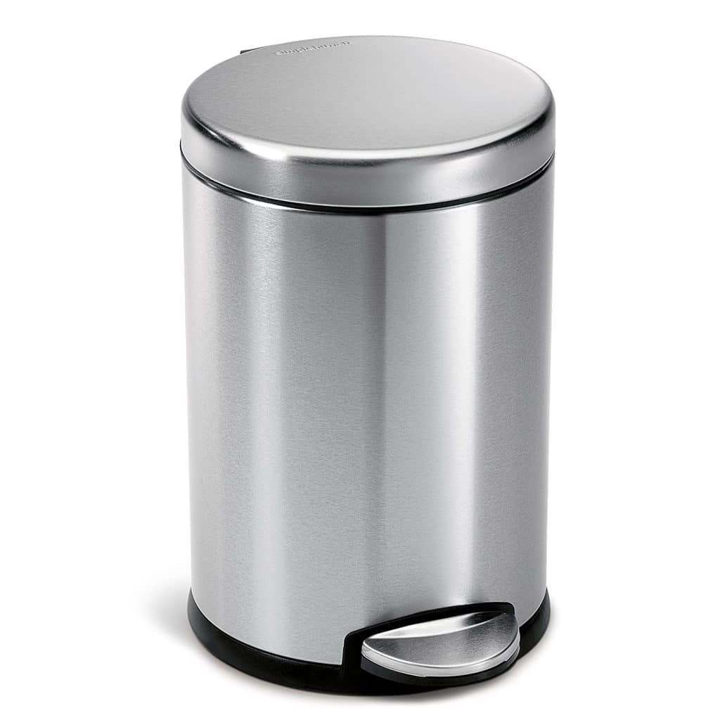 simplehuman Mini Round Step Trash Can, Stainless Steel