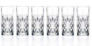 Lorren Home Trends Crystal Melodia Collection High Ball Glass Set of 6