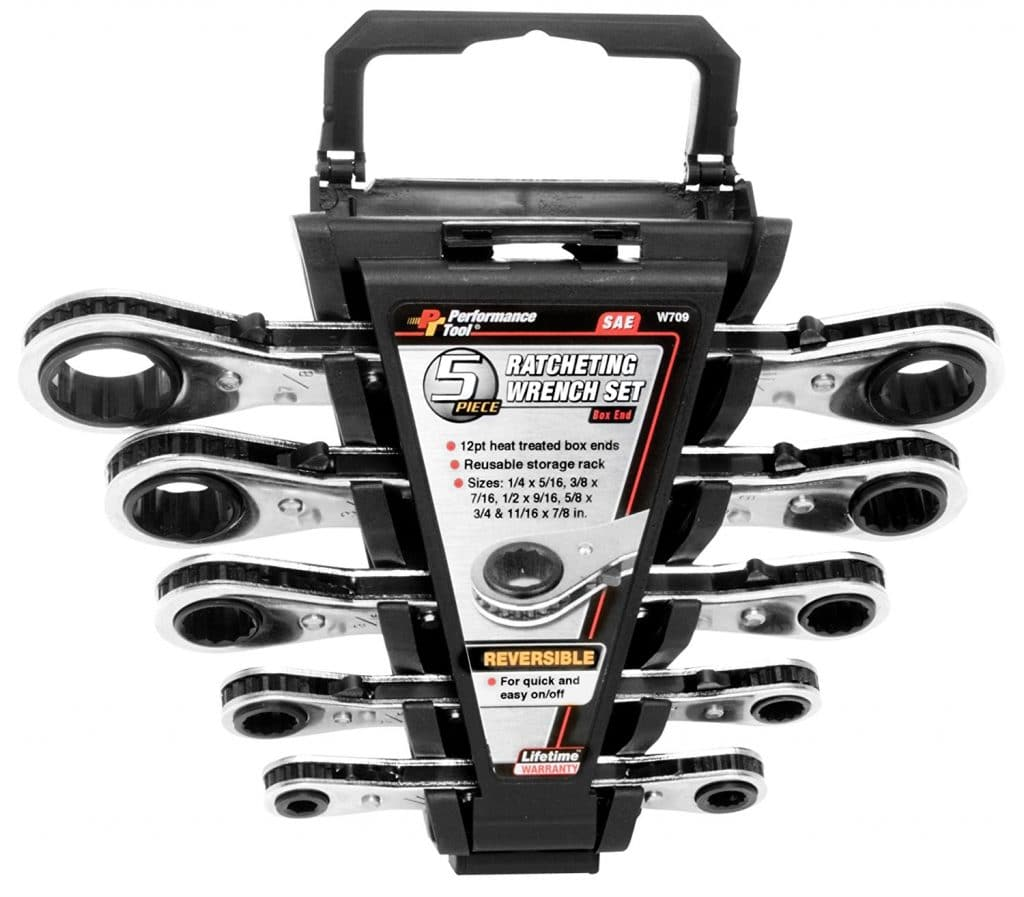 Performance Tool W709 5-Piece SAE Ratcheting Wrench Set