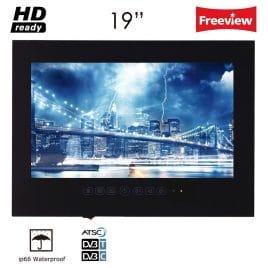 "Soulaca 19"" IP66 Waterproof Black LED Frameless Bathroom TV T190FS-B"