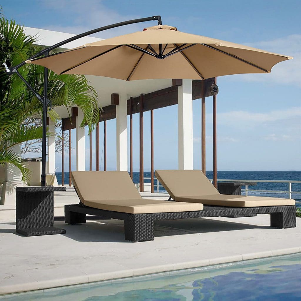 offset tan cantilever umbrellas garden door patio set amazon hanging dp tilt com umbrella off canopy out outdoor deck