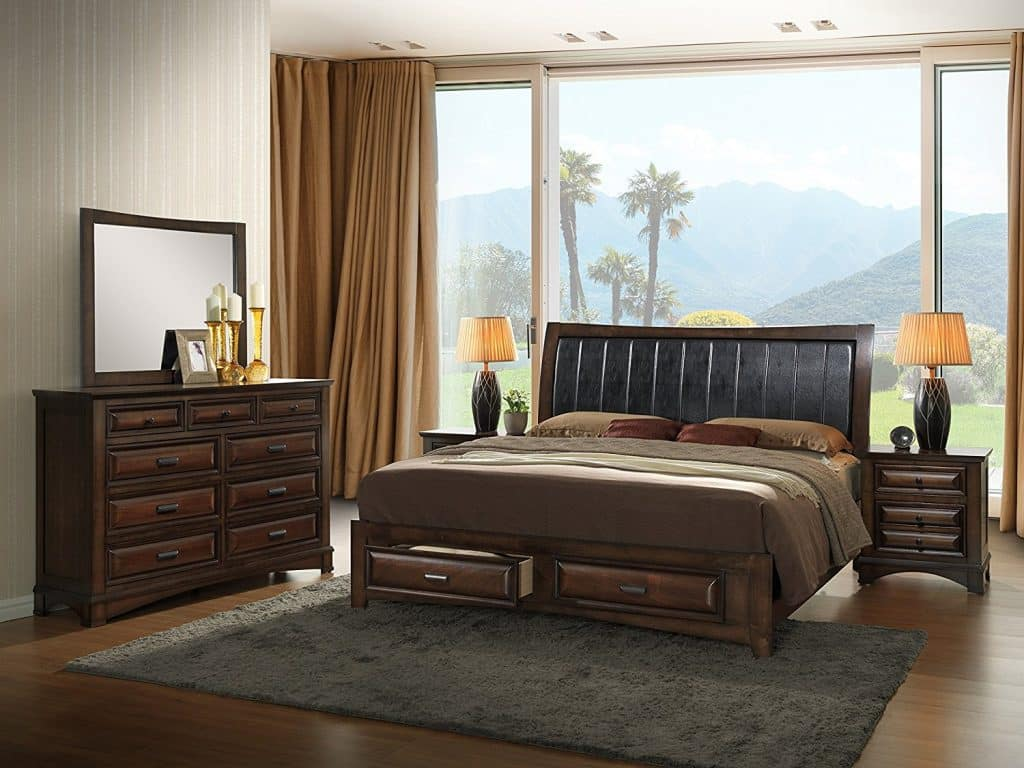 Roundhill Furniture B179KDMN2 Broval 179 Light Espresso Finish King Storage Bed,