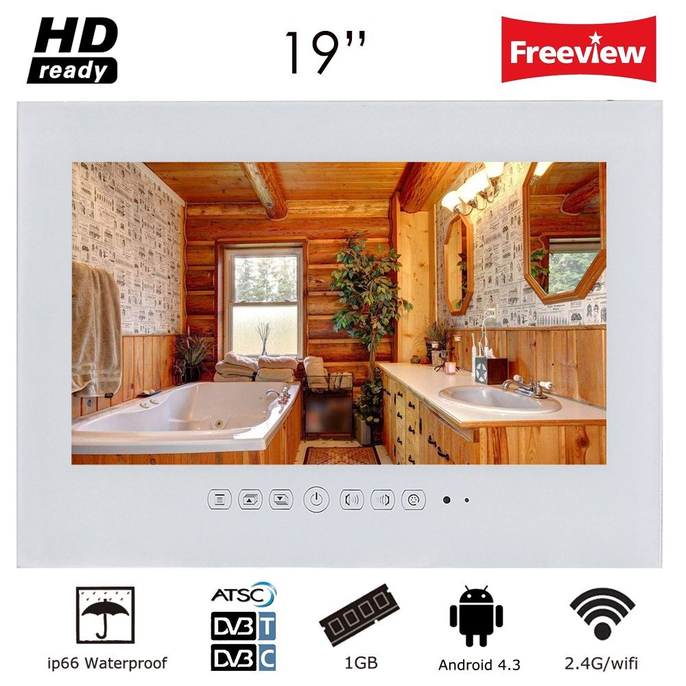 "Soulaca 19"" Frameless Android Smart White Bathroom TV Built-in WiFi T190FA-W2"