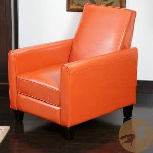 Great Deal Furniture Lucas Orange Leather Modern Sleek Recliner Club Chair