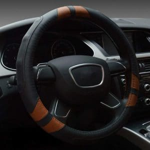 Dee-Type Leather Steering Wheel Cover Universal 15 inch Black & Brown