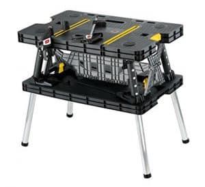 Keter Folding Compact Workbench Sawhorse Work Table -Mini Table Saws