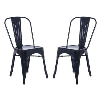 Merax High Back Steel Stackable Vintage Metal Dining Chair Set