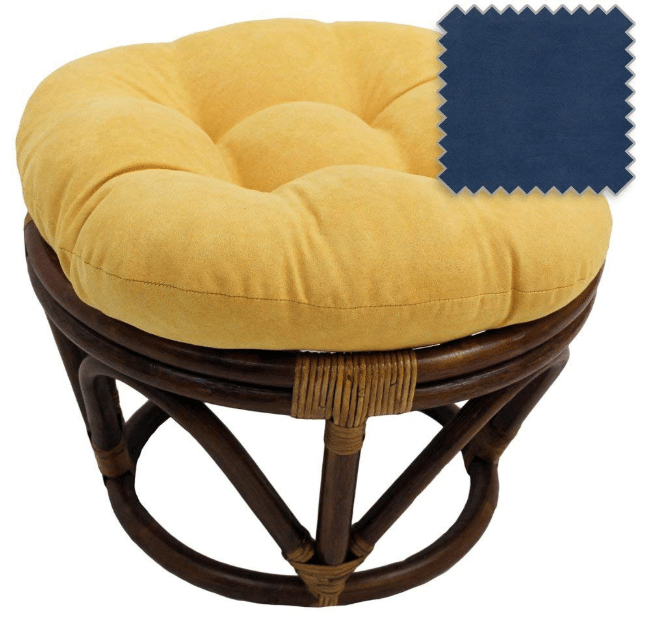 18-Inch Bali Rattan Papasan Footstool with Cushion