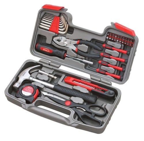 Apollo Tools DT9706 Original 39 Piece General Repair Hand Tool Set with Tool Box Storage Case