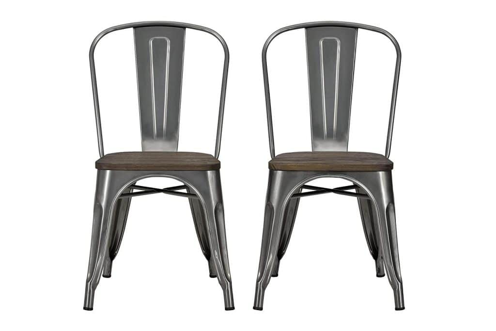 DHP Fusion Metal Dining Chair with Wood Seat