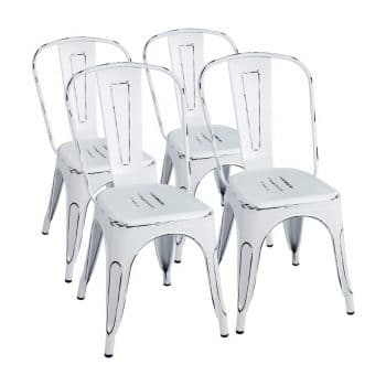 Furmax Metal Chairs Distressed Style Dream White Indoor