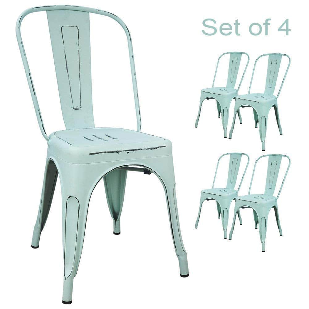 Devoko Metal Indoor-Outdoor chairs Distressed Style Kitchen Dining Chair