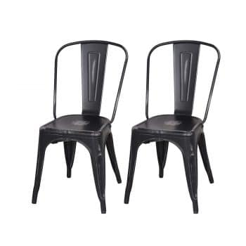 Adeco Metal Stackable Industrial Chic Dining Bistro Cafe Side Chairs