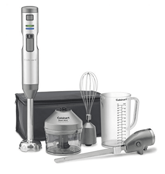 Cuisinart CSB-300 Smart Stick Variable Speed Cordless Rechargeable Hand Blender with Electric Knife