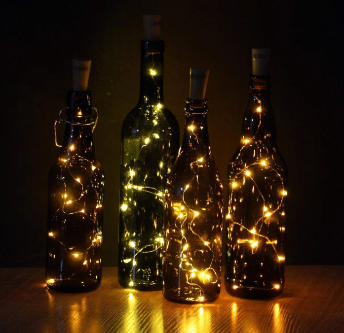 JOJOO Set of 6 Warm White Wine Bottle Cork Lights