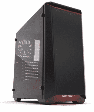 "Phanteks PH-EC416PTG_BR Eclipse P400 Steel ATX Mid Tower Case Black/Red,""Tempered Glass"""