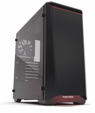 "Phanteks PH-EC416PTG_BR Eclipse P400 Steel ATX Mid Tower Case Black/Red,""Tempered Glass"""