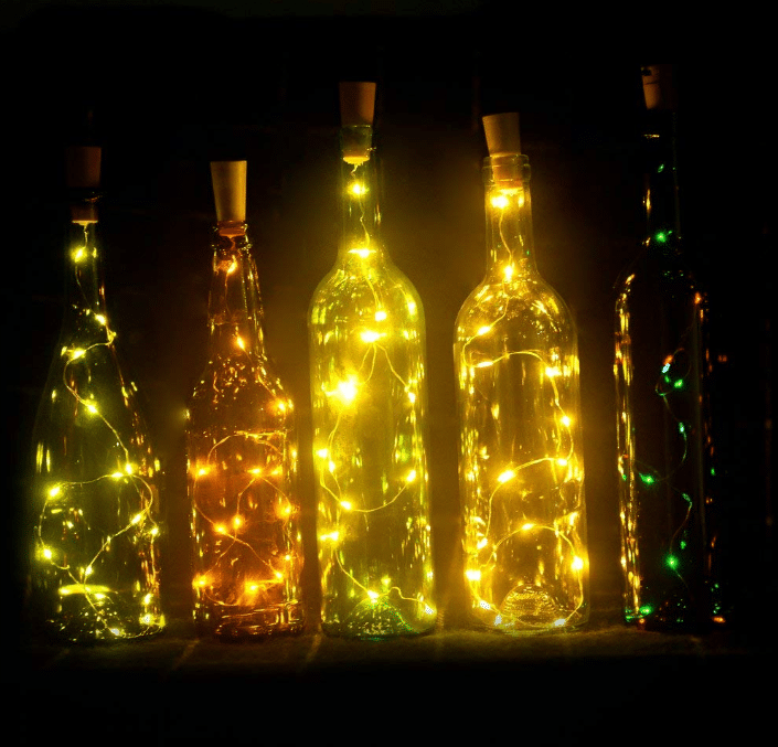 Set of 6 Wine Bottle Lights Battery Powered