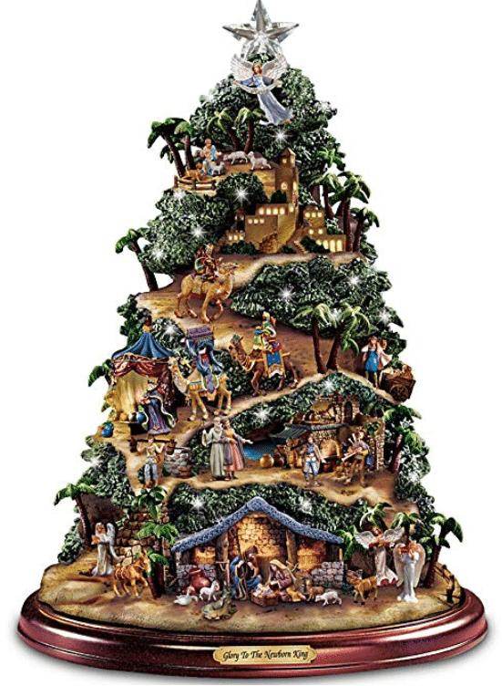 Thomas Kinkade Illuminated Nativity Tabletop Tree