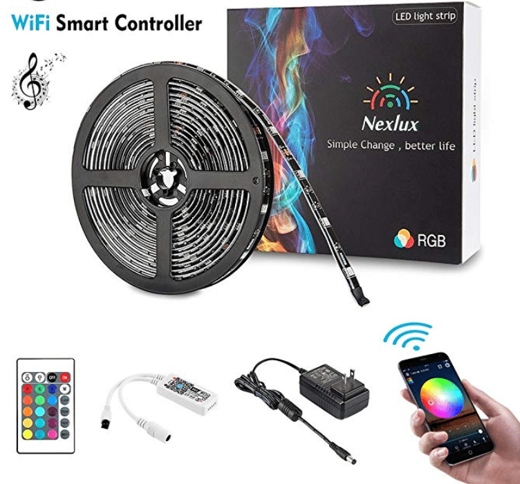 Nexlux LED Strip Lights, Wifi Wireless Smart Phone Controlled Light Strip Kit