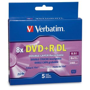Verbatim DVD+R DL 8.5GB 8X with Branded Surface - 5pk Jewel Case Box