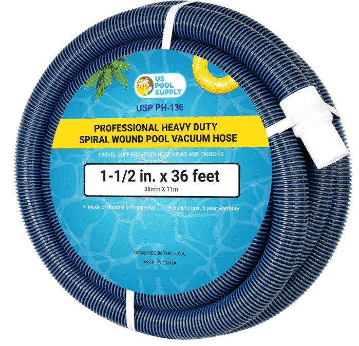 "U.S. Pool Supply 1-1/2"" x 36 Foot Professional Heavy Duty Spiral Wound Swimming Pool Vacuum Hose"