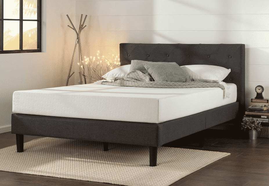 Zinus Upholstered Diamond Stitched Platform Bed in Dark Grey