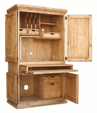 RR Rustic Western Wall Computer Armoire