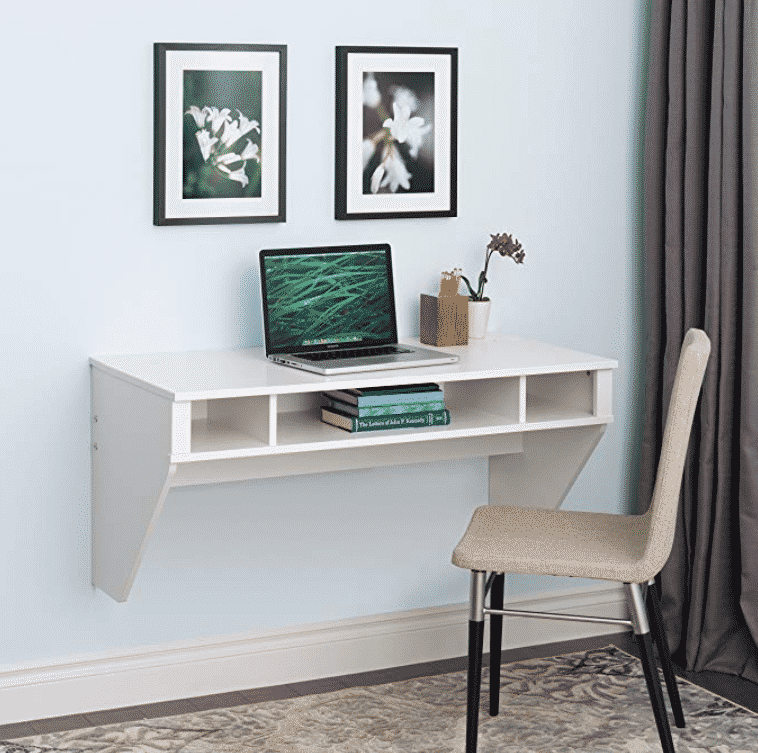 Prepac Wall Mounted Designer Floating Desk in White