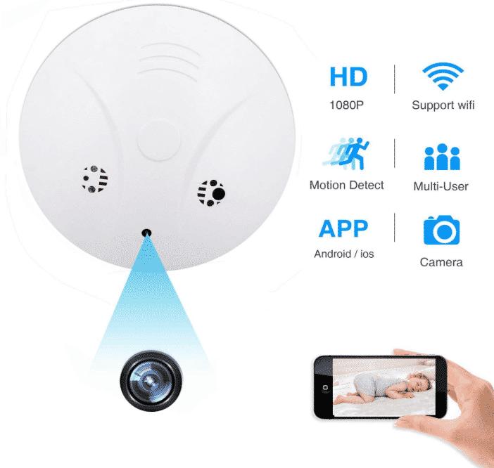 Spy Hidden Camera, ZDMYING WiFi Smoke Detector Camera