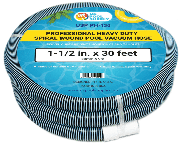 "U.S. Pool Supply 1-1/2"" x 30 Foot Professional Heavy Duty Spiral Wound Swimming Pool Vacuum Hose"