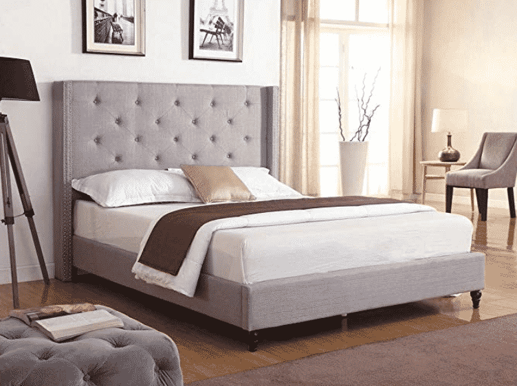 "LIFE Home Premiere Classics Cloth Light Grey Silver Linen 51"" Tall Headboard Platform Bed with Slats Queen"