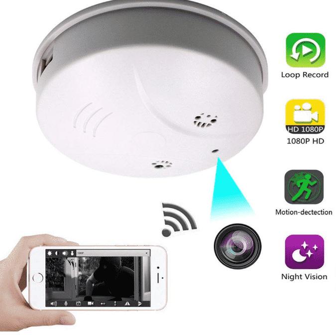JLRKENG Wireless Night Vision Hidden Spy Camera Smoke Detector