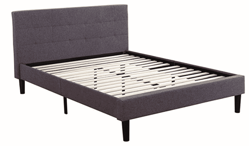 Deluxe Tufted Platform Bed Frame w/ Wooden Slat