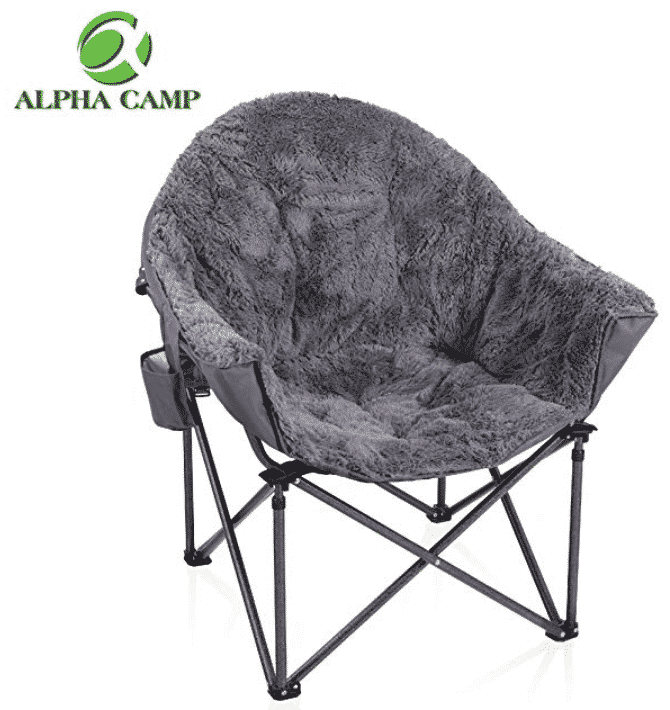 ALPHA CAMP Folding Oversized Padded Plush Moon Chair
